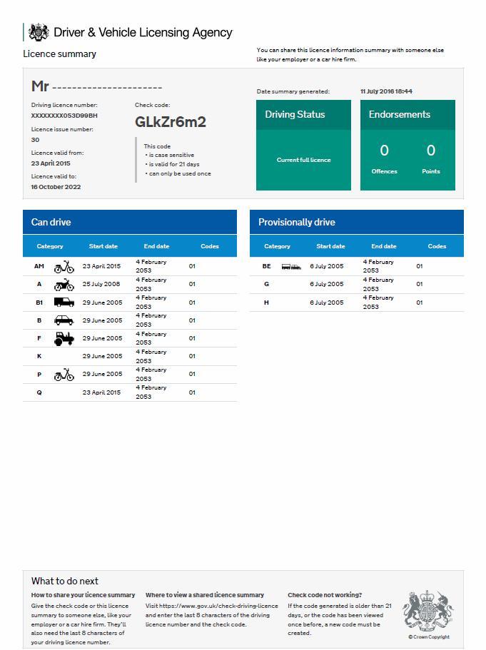 Информация о водительском удостоверении Великобритании с официального сайта